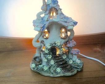 Nursery lamp, electric light, fairy house nursery lamp, kid's lighting.