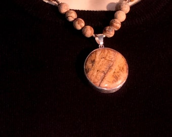 Picture Jasper Necklace. Sterling Silver, 15,16 or 20in - free US ship