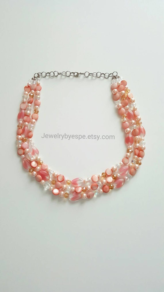 bridal coral statement necklace coral pink necklace