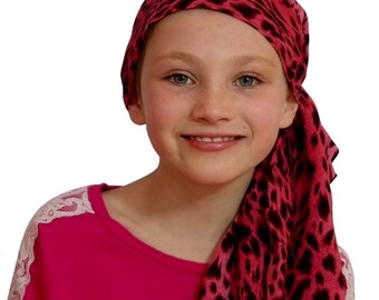 Ava Joy Children's Pre-Tied Head Scarf, Girl's Cancer Headwear, Chemo Head Cover, Alopecia Hat, Head Wrap, for Hair Loss - Pink Cheetah