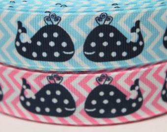 "7/8"" Whale Print Grosgrain Ribbon by the Yard for Hairbows, Scrapbooking, and More!!"