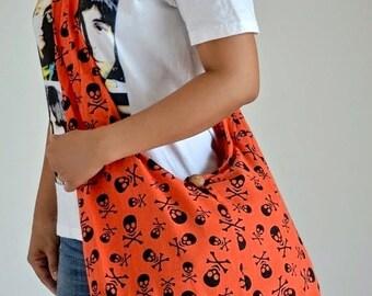 Skull Messenger Bag Gothic Bag College Bag Shoulder Bag Crossbody Bag Sling Bag Hippie Bag Hobo Bag Boho Bag Handbags Tattoo Bag, Orange
