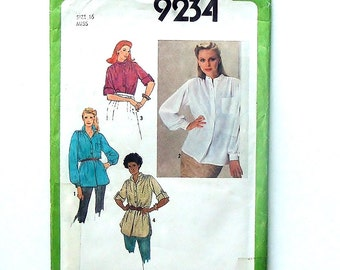 Vintage Sewing Pattern - 1979 Simplicity Pullover Tunic or Shirt Pattern #9234 - UNCUT - Size 16 (bust 38)