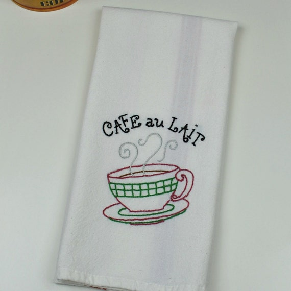 Coffee Decor Hand Embroidered Kitchen Towel Coffee Themed