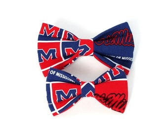 Ole Miss, University of Mississippi Dog bow tie, Cat bow tie, fabric bow tie for dog/cat collars, pet bow tie, collar bow tie