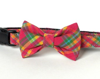 Dark Pink Plaid Dog Collar Bow Tie set, pet bow tie, collar bow tie, wedding bow tie