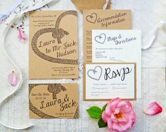 Love Knot Wedding Stationery Set |  Wedding Invite, Guest Information Card & RSVP | Sample