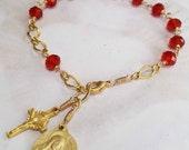 Rosary Bracelet - Saint Mary Magdalene Red Crystal - 18K Gold Vermeil