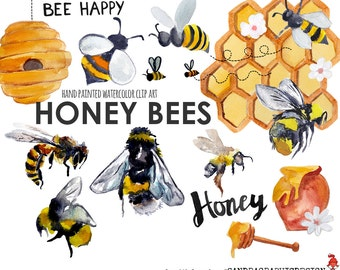 Honey bee clip art, summer clipart, beez, bee hive, nature clipart, hand painted watercolor clipart (5237)