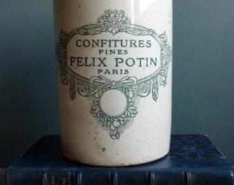 An antique french Felix Potin jam jar, 1920s, stoneware jar, ironstone