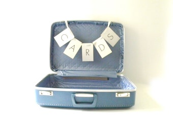 Vintage Blue Suitcase/ Wedding Card Holder