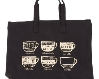 Espresso Tote Bag - Canvas Zipper Tote Bag - Coffee Tote Bag - Farmers Market Bag, 100% Cotton Canvas Bag, Heavyweight Cotton, Coffee Addict