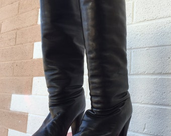 VINTAGE High Heel Knee High Leather Boots size 5 1/2