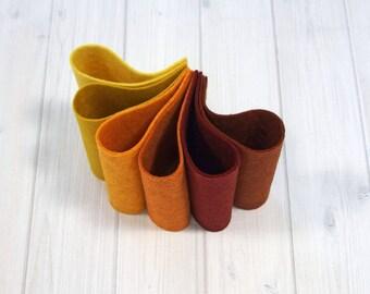 Felt Sheets, Autumn Harvest Collection, Wool Blend Felt, 9 x 12 inches, Felt Bundle, Craft Felt