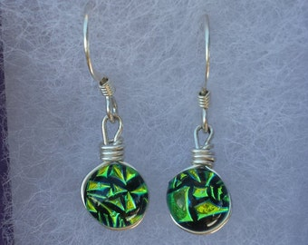 green dichroic glass earrings wrapped in sterling silver wire #E102
