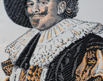 The Laughing Cavalier Portrait Ribbon Warner Artex Howard Huffsschmidt Jacquard Woven Silk Textile Vintage Collectible Souvenir