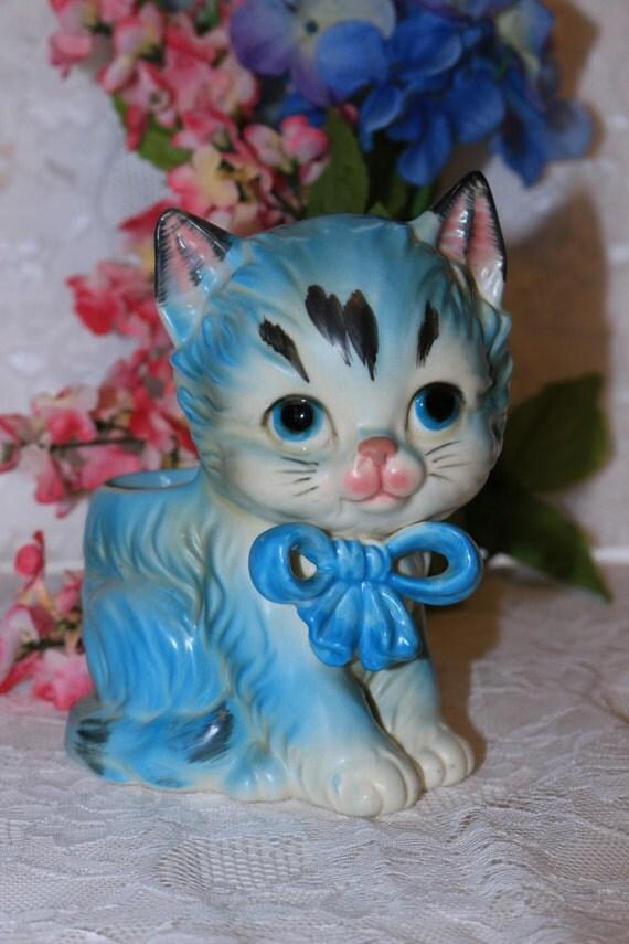 Lefton China Vintage Blue Kitty Cat Planter Vase H2953 Baby Children Animal Bow Feline Kitten Decor 1960s Retro Collectible