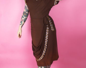 1940s Dress / 40s Sequin Sequined Brown Gold Crepe Dress Greek Key
