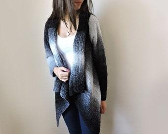 SALE 25% Ombre sweater Plus size sweater Knit cardigan Cozy sweater Black sweater Long sweater coat Womens sweaters Chunky sweater Warm
