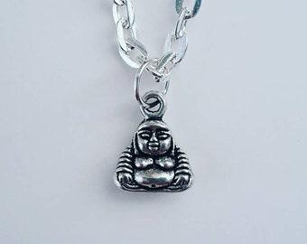 SALE!! Tiny Buddha Silver Pendant - Necklace or Bracelet