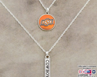 Oklahoma State Cowboys Double Down Necklace - OKS57809