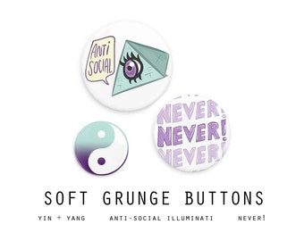 Pastel Grunge Buttons // Pastel Goth Pinback Button Pin // Soft Grunge 90s Illuminati Creepy Cute Sassy Kawaii Brooch Pins Punk Rad Button