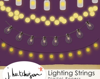 Commercial Use Instant Download  Clipart Lantern Strings -  Mason Jar, Light Bulbs