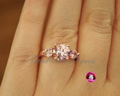 Art Deco Engagement Ring | Victorian Engagement Ring | Pink Diamond 3 Stone Engraved 5Ctw Rose Gold Plated | Sizes 6 7 8 9 #401RGpk