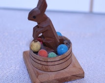 Vintage Wood Easter Bunny in Basket Wood Eggs Hand Carved Miniature Doll House Mini