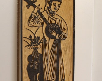 Vintage Woman Playing the Lute Wood Stamp Mold