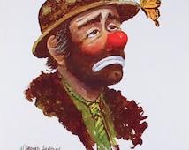 Emmett Kelly Art Print   Clown Print   Vintage Art Print   Butterfly Art Print   W. Harold Hancock   Vintage Clown   Sad Clown   16x12
