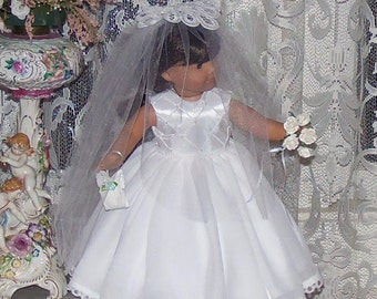 "Bridal Set for American Girl Doll.  18"" Doll Wedding Gown. Veil, Bouquet, Handkerchief and Hoop Petticoat.  Pearls. Satin. Winnie's Wardrobe"