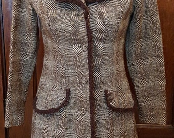 Vintage YOUNG EDWARDIAN by ARPEJA Wool Brown and Cream Mini Coat Dress With Crocheted Trim Junior Size 7
