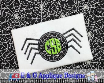 Spider Monogram Applique Design - Halloween Digital Embroidery Design - Spider Applique - 5 Sizes