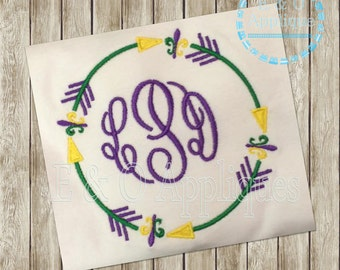 Tribal Arrow Mardi Gras Monogram Embroidery Frame Design - fleur de lis Monogram Embroidery Design - Digital Arrow Monogram Frame