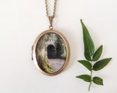 Irish Castle Door Locket - 'Emerald Morning' - Fine Art Brass Photo Locket Necklace