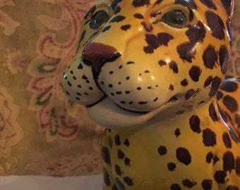 LEOPARD HOLLYWOOD REGENCY Vintage Italian Sculpture Ceramic
