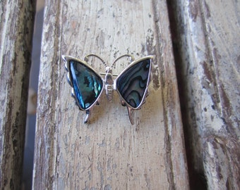 Vintage Butterfly Brooch - Paua Shell - Abalone