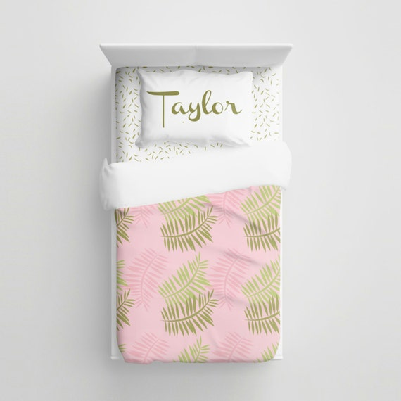 Custom pink and green minimalist fern kids bedding for Minimalist comforter