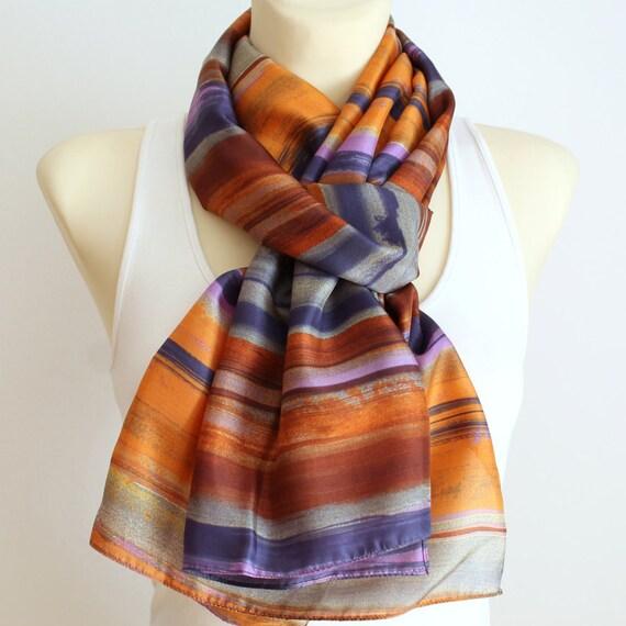 Soft Silk Scarf - Geometric Silk Scarf - Unique Silk Scarf - Light Silk Scarf - Trendy Silk Scarf - Women Fashion Accessories - Gift Idea