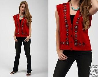 vintage 80s vest vintage 80s bohemian embriodered vest 1980s boho hippie red and black vest