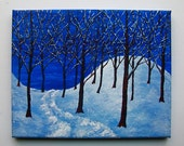 "Winter Woods (ORIGINAL ACRYLIC PAINTING) 8"" x 10"" by Mike Kraus"