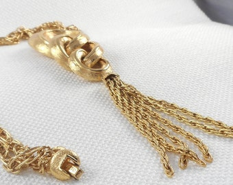 Vintage 60's Monet Long Drop Tassel Necklace Monet Gold RingsTassel Necklace 60's Monet Runway Necklace Vintage Monet Mad Men Necklace