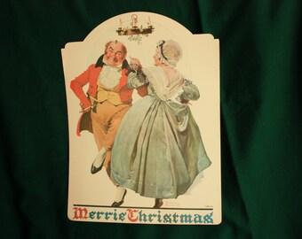 Norman Rockwell print Merrie Christmas couple dancing under mistletoe, Norman Rockwell poster, Rockwell window display, store display