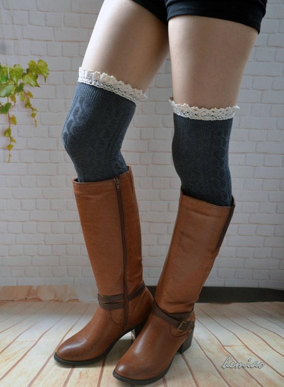 knee high boot socks gray thigh high sockslace boot