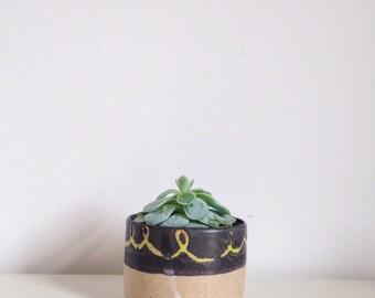 Handmade ceramic planter~ hand painted plant pot~ black and yellow modern succulent planter.