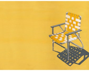 Yellow Wall Art, Yellow Lawn Chair, Retro,  Cottage Chic, Bungalow, Archival, Print, Limited Edition, Signed, 13x19