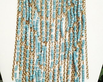 Bronze Chain, Teal and Beige Cascade Necklace / Teal and Beige Cascade Bib Necklace.