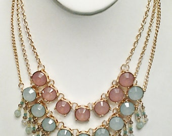 Three Layered Mint and Peach Necklace / Gold Chain Layered Bib Necklace