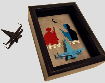 Gift For Boyfriend, Star Wars Gift For Girlfriend, Gift For Wife, Gift Personalized. I Love You I Know, 5X7 Shadowbox And An X Wing Figure.